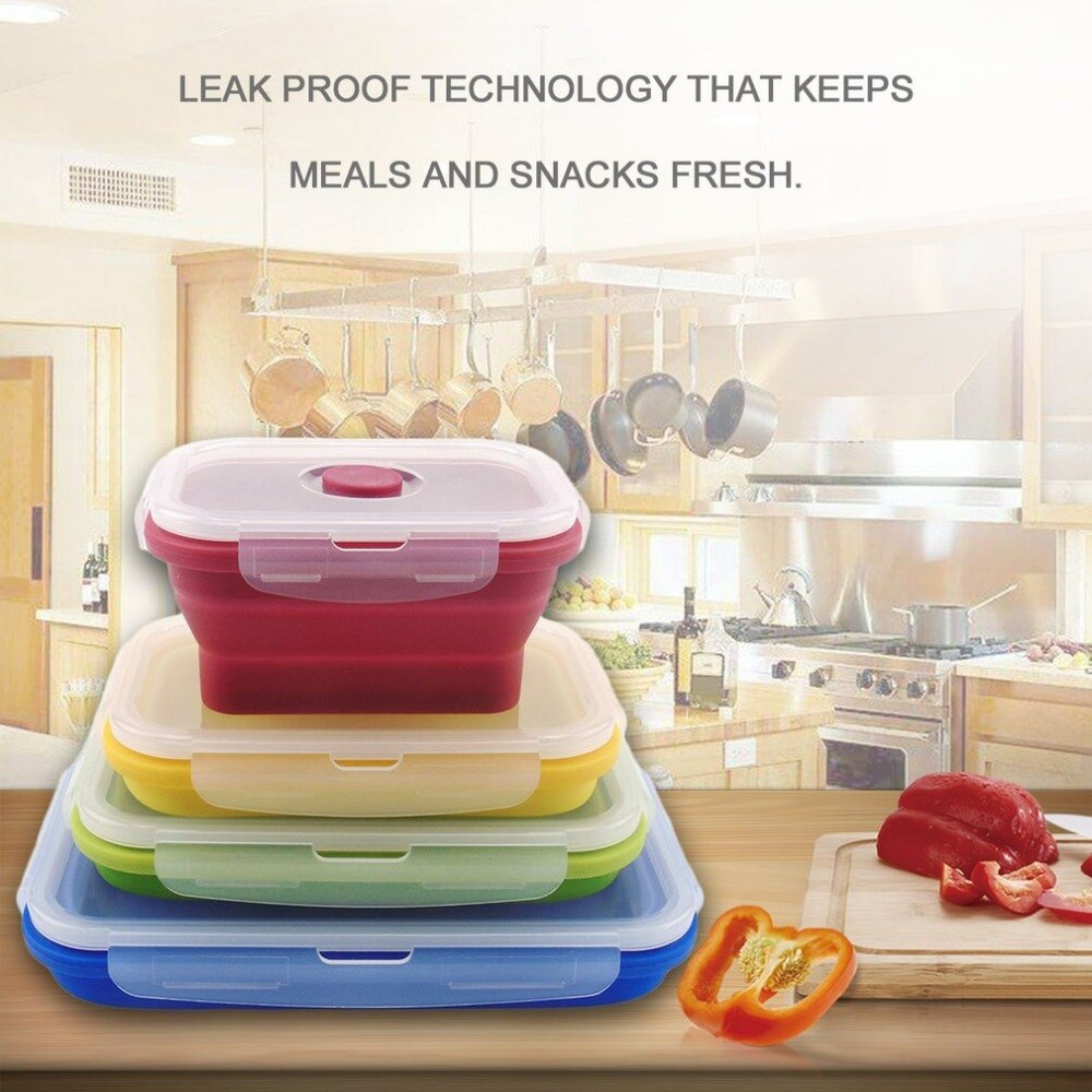 Fiambrera de silicona plegable colorida práctica Eco-Friendly portátil tamaño niños contenedor de alimentos para microondas horno lonchera