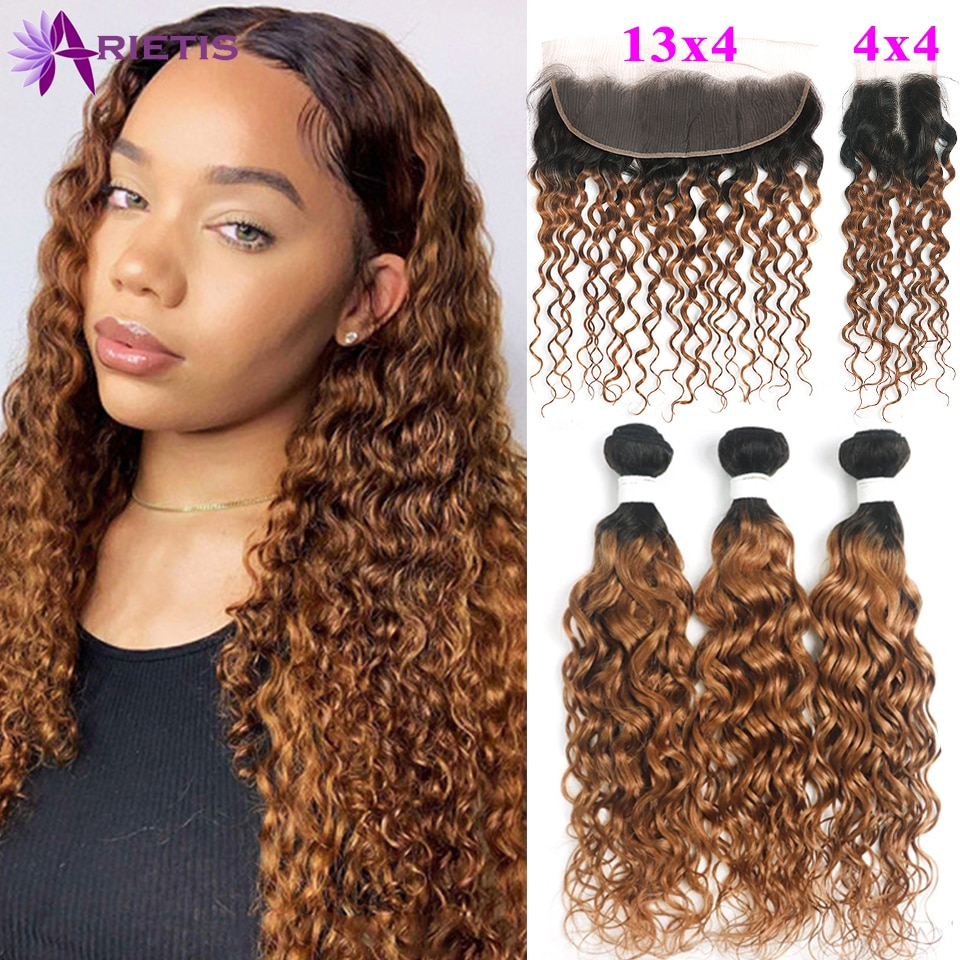 Water Wave Bundles With Closure 4x4 Ombre Brown Brazilian Human Hair Bundle With Frontal Closure Remy Hair Extensions Human Hair