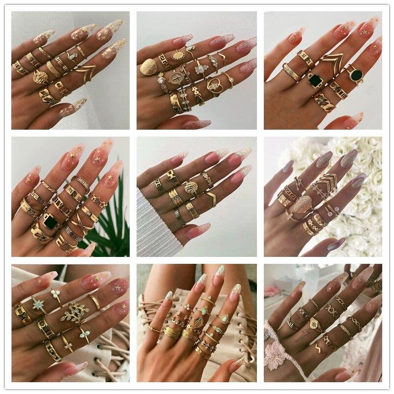 Fashion Vintage Golden Rings Set Women Crystal Star Flower Snake Ring for Women Charm Knuckle Rings Female Boho Jewelry anillo