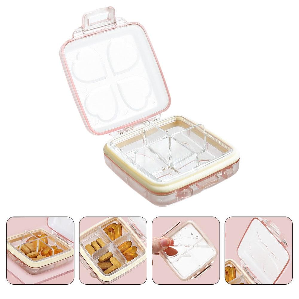 1Pc Portable Pill Case Mini Pill Case 4 Compartments Pill Classified Box )