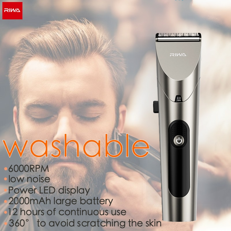 Riwa Barber Hair Clipper LED Screen Washable Electric Trimmer Rechargeable Professional Hair...
