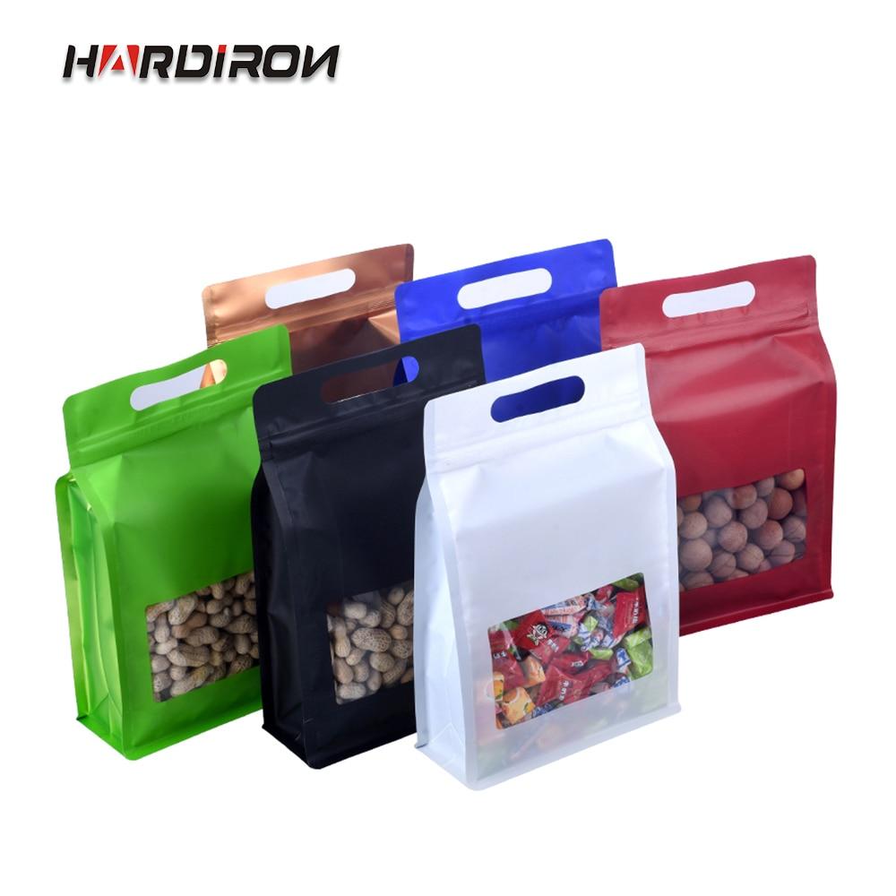 Bolsa octogonal de Color de aluminio con cremallera, bolsa de plástico transparente con ventana de pie, bolsa de papel de aluminio con paquete sellado para alimentos