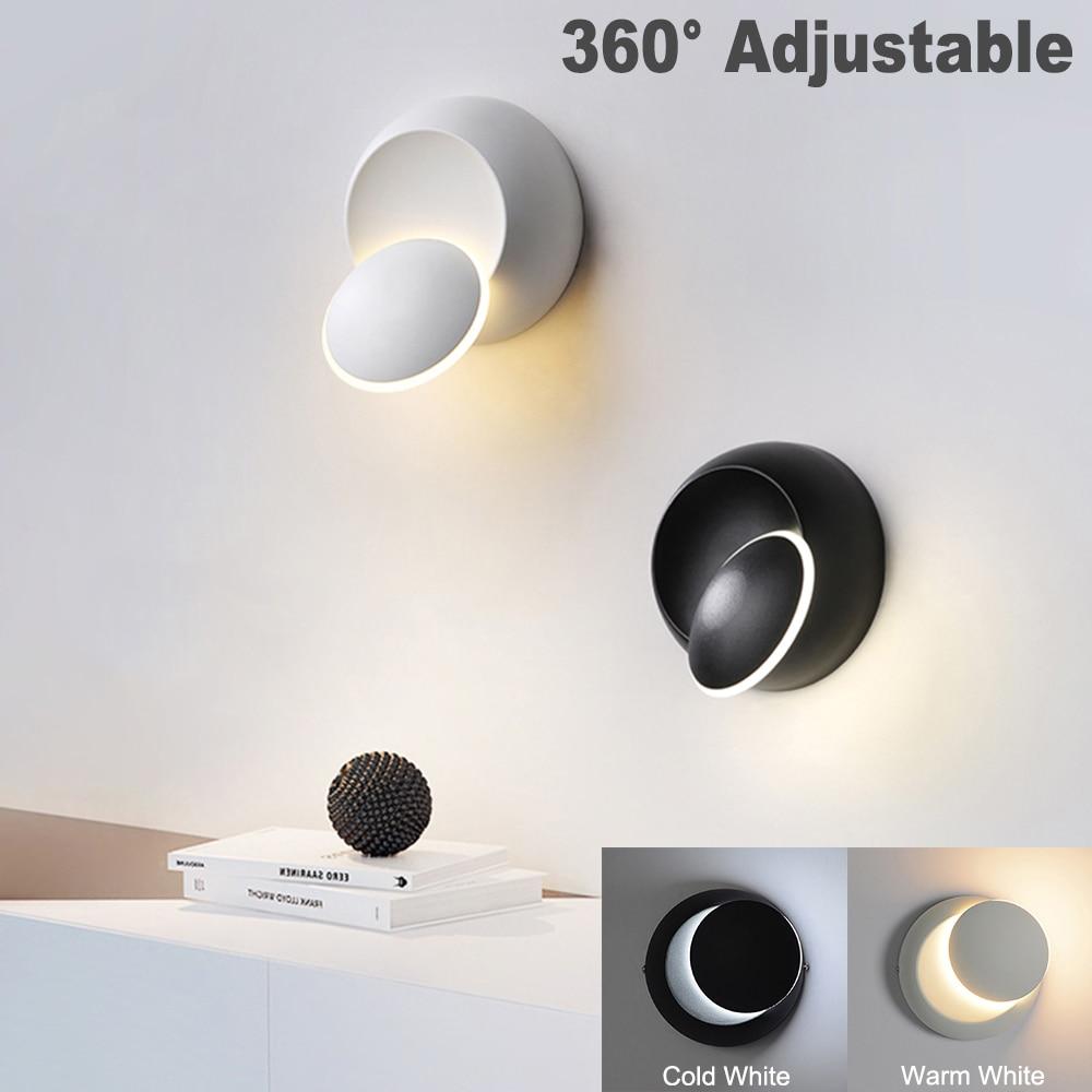 مصباح حائط داخلي حديث ، مصباح حائط LED إبداعي ، أبيض وأسود ، تركيبات جدارية