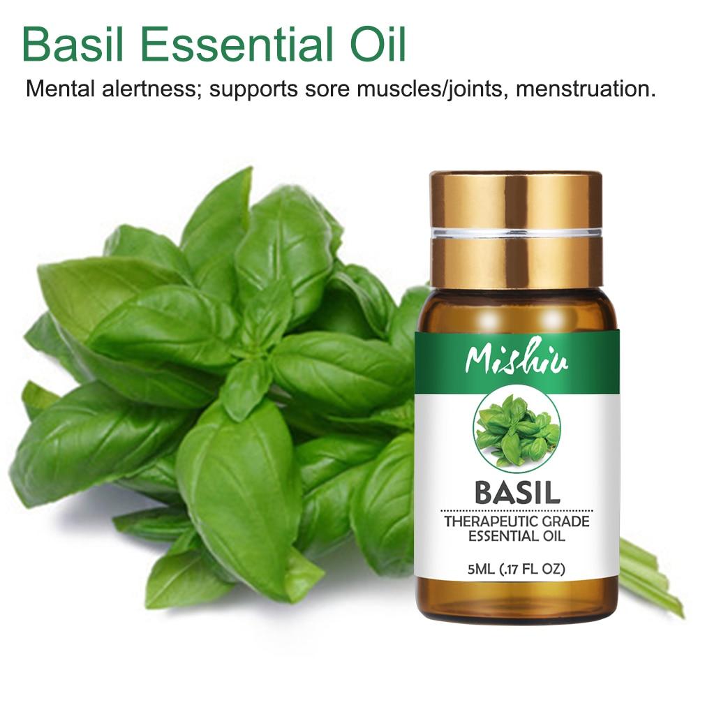 Aceite Esencial de albahaca Mishiu de 5ML para aliviar el estrés masaje corporal orgánico elimina el olor del pie de atleta, difusor para el cuidado del cabello y la piel
