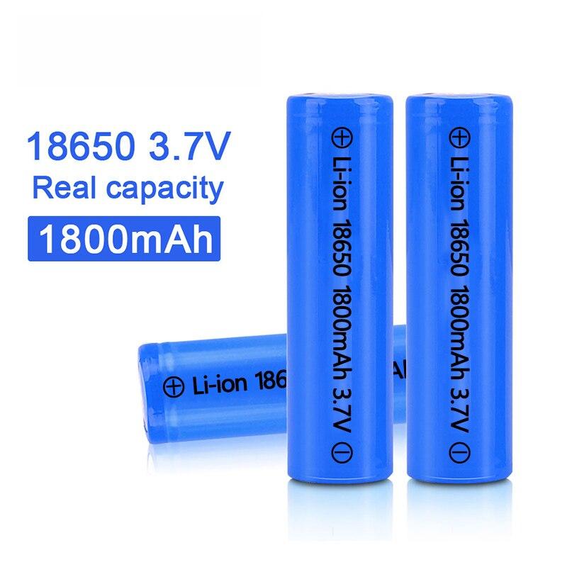 100% nova alta qualidade 18650 1800mah 3.7v bateria de íon de lítio recarregável para lanterna etc