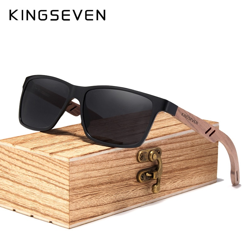 KINGSEVEN 2021 New TR90+Natural Walnut Wooden Sunglasses Men 100%Polarized UV400 Lens Retro Sun Glasses Reinforced Hinge