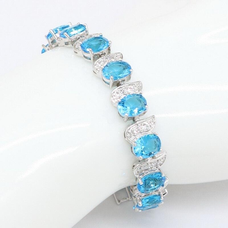 Xutaayi na moda cor de prata branco zircônia cúbica pedra e cristal azul pulseira para presente da jóia feminina img_1254