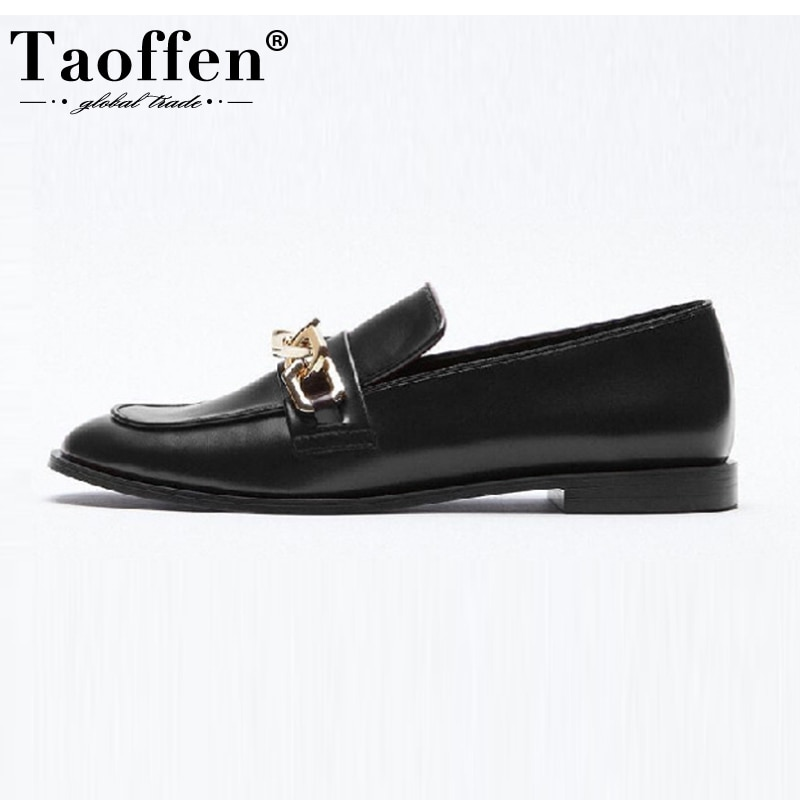 Taoffen Women Real Leather Flats Shoes 2021 INS New Fashion Casual Women Shoes Loafers Low  Heels Footwear Size 34-43