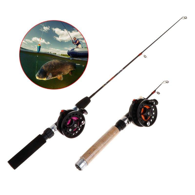 Fishing Rod With Fishing Reel Ultra Short Portable Mini Winter Outdoor Ice Fishing EVA Handle 4B/3B Reels Professional Tackle enlarge