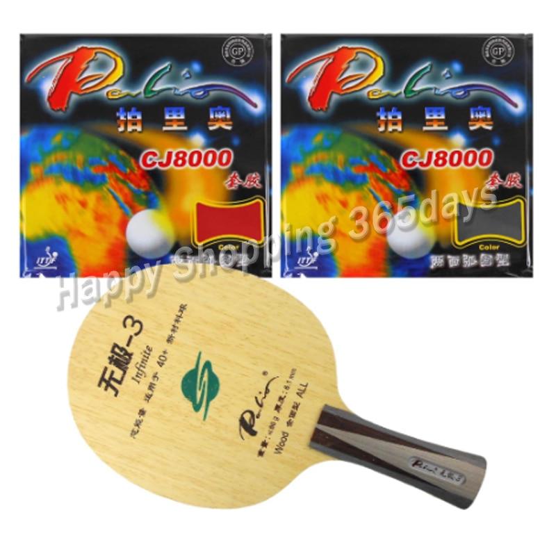 Pro de tenis de mesa/PingPong Combo raqueta Palio infinito-3 hoja con 2x Palio CJ8000 (H36-38) condones mucho Shakehand FL