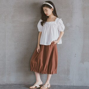 2021 Spring Summer Girls Skirt Teenage Clothes 100% Cotton Black Brown Mid Long Girls Skirts Princess Autumn Kids Clothing
