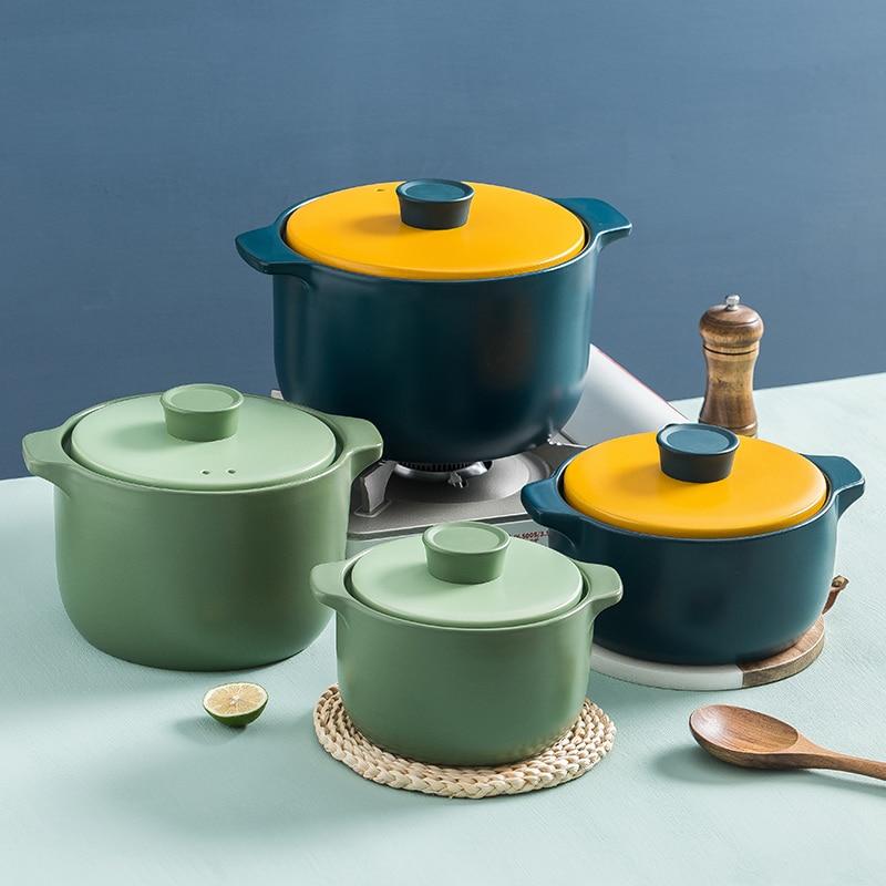 Ceramic Soup Pot Casserole Stew Pot Ceramic Cooking Pot Cookware High Temperature Resistant Pot for Restaurant Kitchen