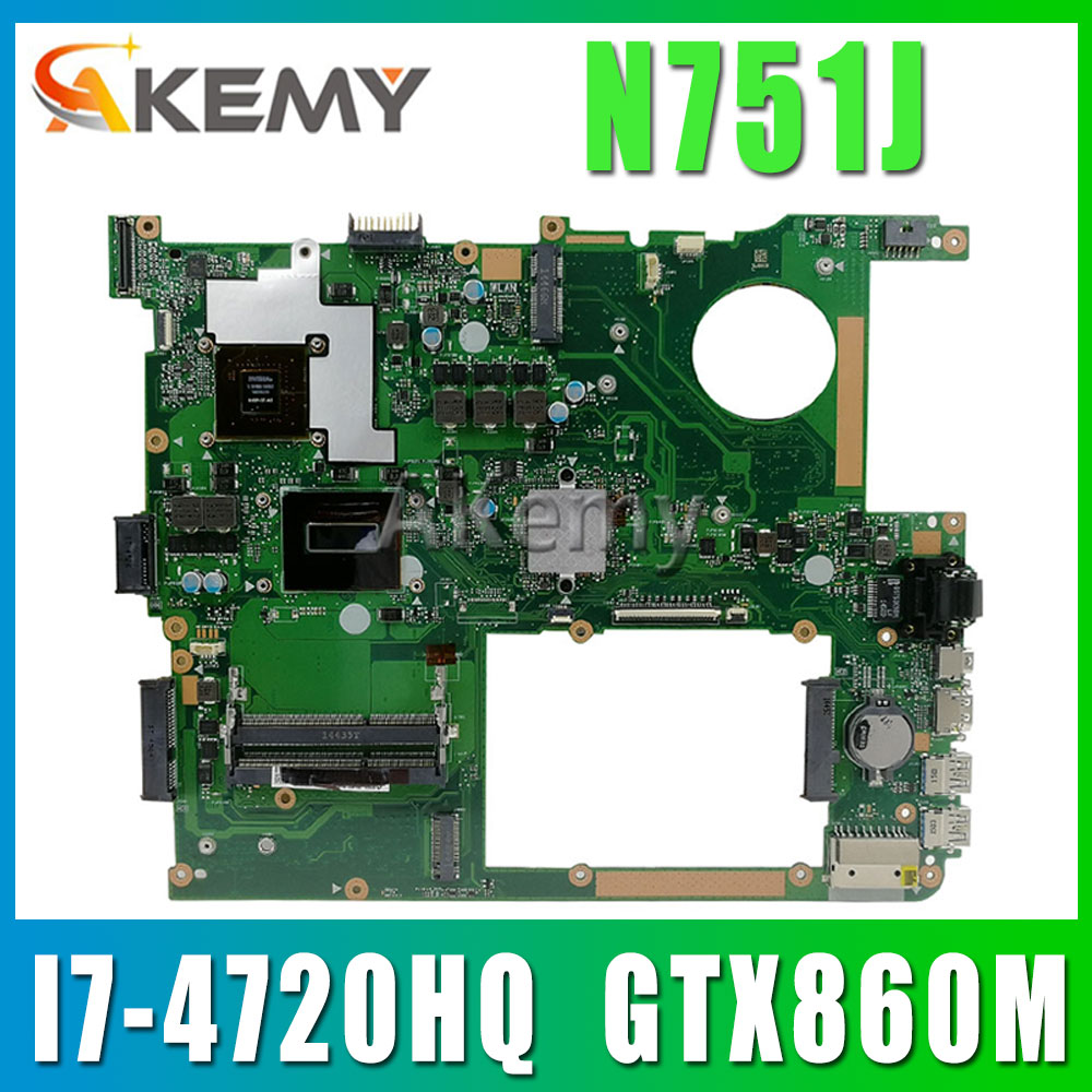 N751JX اللوحة الأم لأجهزة الكمبيوتر المحمول ASUS N751JX N751JK N751J N751J اختبار اللوحة الرئيسية الأصلية LVDS/EDP I7-4720HQ GTX860M