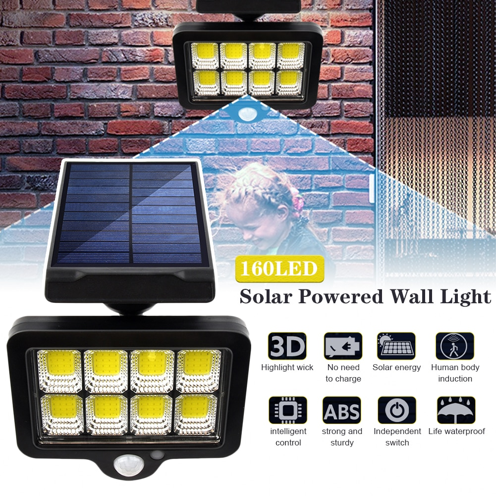 Solar Wall Light Outdoors Motion Sensor Waterproof Garden Porch Light with 160COB for Garden Lawn Indoors