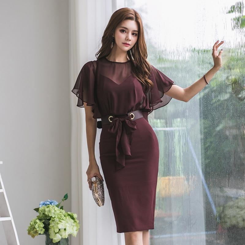 Femmes robe en mousseline de soie robes femme coréen bureau dame robe moulante grande taille été élégant femme maille robes femmes Vestidos XL