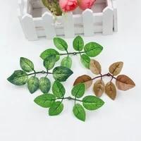 Feuille artificielle verte  10 pieces  fausses fleurs  pour decoration de mariage  maison  roses  accessoires pour bouquet  diy bricolage  coupe et pate  artisanat