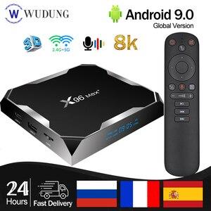 X96 Max Plus Android 9,0 Смарт ТВ Box Amlogic S905X3 4 ядра 4 г 32 г/64G 2,4G и 5,0G двойной WI-FI BT4.0 8K HD декодер каналов кабельного телевидения компьютерной приставки к телевизору PK X96 MAX