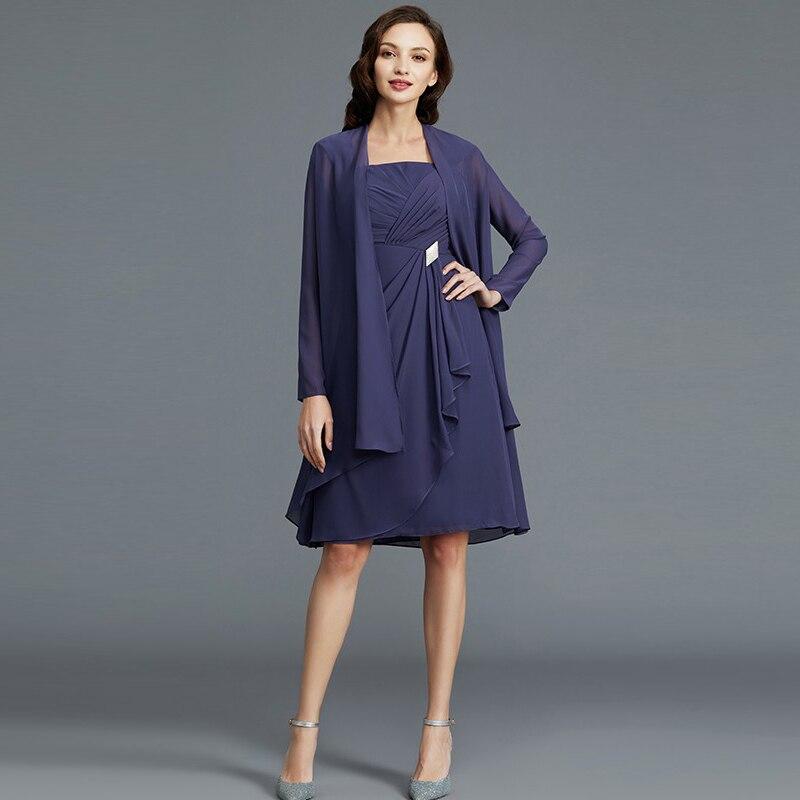 فستان أم العروس من الشيفون الأزرق الداكن ، قطعتين ، معطف ، طول الركبة ، فستان حفلات الزفاف ، ثنيات