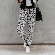2020 New Arrival Women Sweatpant Leopard Print Pant Harem Slim Long Pant With Pocket Drawstring American Casual Female Trousers