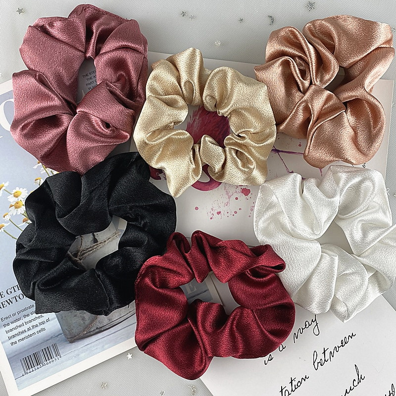 2pcs/set 3.54 inch Satin Silk Scrunchie for women Solid Color Elastic Hair Bands girl fashion Ponyta
