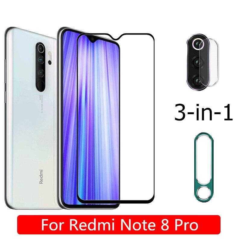 3-в-1 защита для камеры + закаленное стекло для Xiaomi Redmi Note 8 Pro защита для экрана задняя камера металлическое кольцо для Redmi-Note-8-Pro