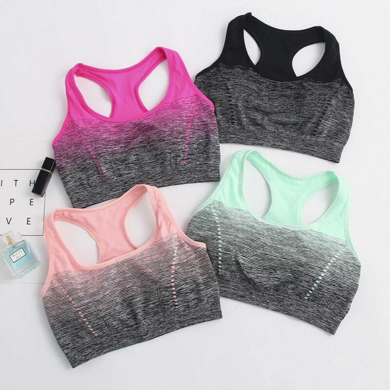 Women Ladies Seamless Yoga Sports Running Bra Crop Top Vest Padded Stretch Bras Shaper Padded Workout Fitness Tank Top