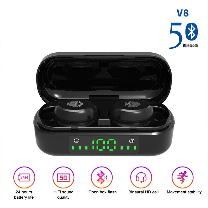 [해외] ROCKSTICK V8 TWS 무선 이어폰 Bluetooth 5.0 9d베이스 스테레오 방수 이어 버드 핸즈프리 헤드셋 (마이크 충전 포함)