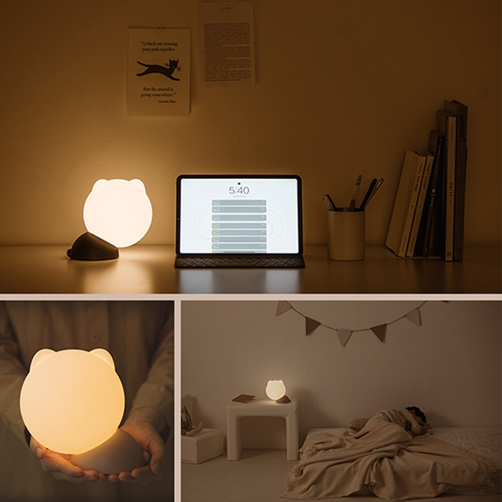 USB Rechargeable LED Night Light 3 Modes Lighting Pat Switch Silicone Children's Night Lamp Warm Light Bedroom Bedside Lamp enlarge