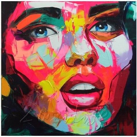 Paleta de Lona Pintura a Óleo Pintados à Mão Arte da Parede Francoise Nielly Faca Retrato Rosto Acrílico Decoração Casa Fotos Sala Estar