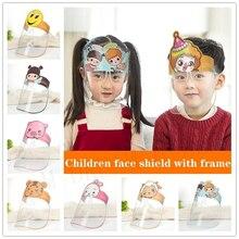 50 unids/lote niños de dibujos animados protección facial máscara PET Anti-niebla máscara protector para todo el rostro Anti-salpicaduras de máscara con Visor seguro máscaras para fiesta
