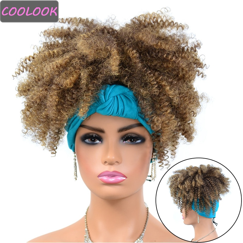 Synthetic Headband Wigs for Black Women Short Ombre Afro Kinky Curly Wig with Scarf Heat Resistant Fibre Curly Hair Cosplay Wigs