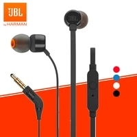 jbl tune 110 3 5mm wired earphones t110 stereo music deep bass earbuds sports headset in line control handsfree with microphone