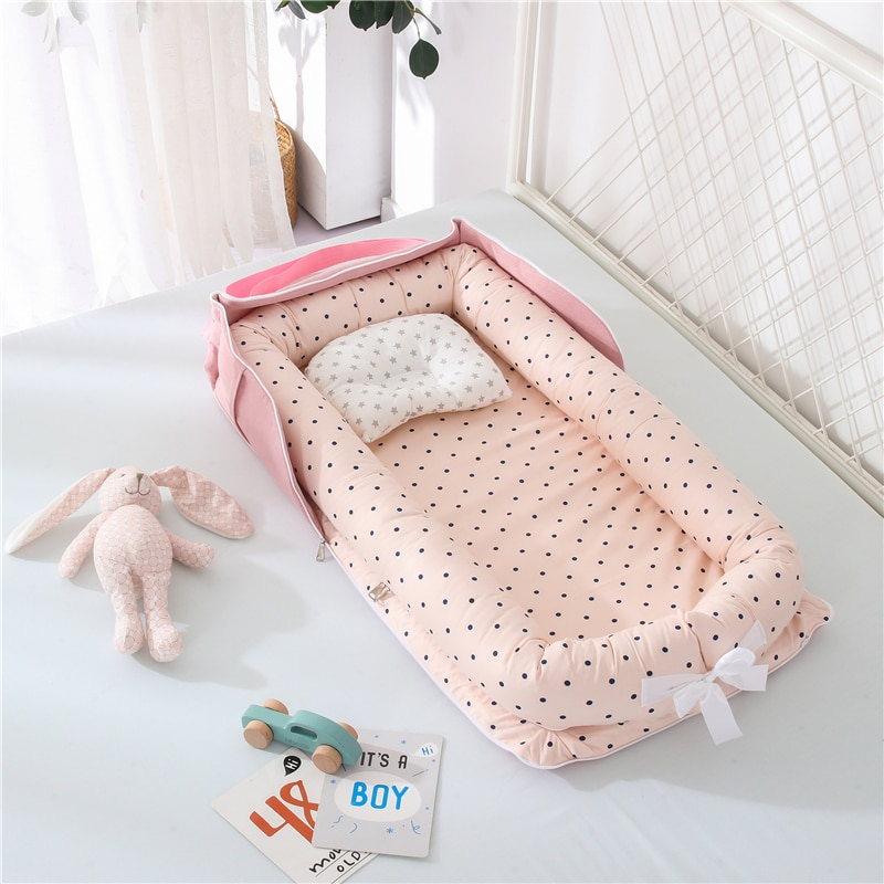 Portable Baby Nest Bed for Boys Girls Travel Bed Infant Baby Lounger Crib Newborn Bassinet Bed Bumper