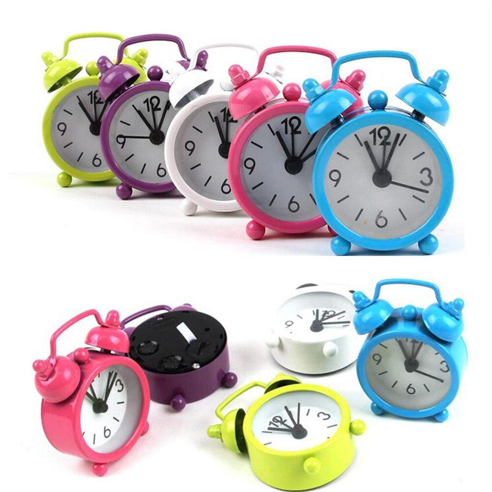 Mini relógio de mesa criativo bonito mini metal pequeno despertador eletrônico pequeno despertador redondo alto despertador z3