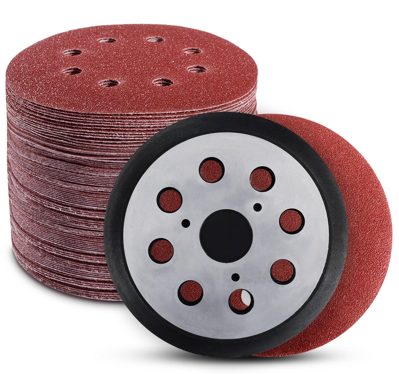 70PCS 5 Inch Hook and Loop Sanding Discs 8 Holes with 1PCS Sander Polishing Pad