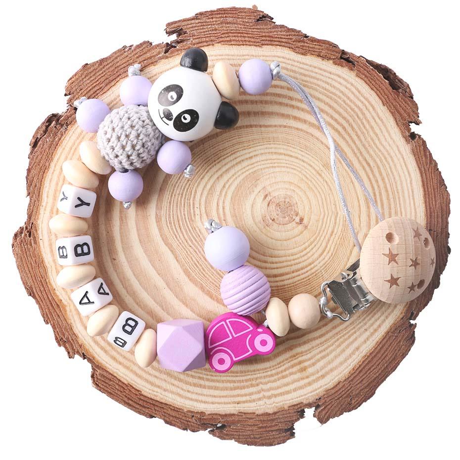 Corrente de chupeta de panda, nome personalizado, discurso, mordedor, desenho animado, panda, corrente, roedor, bebê, mordedor para presente