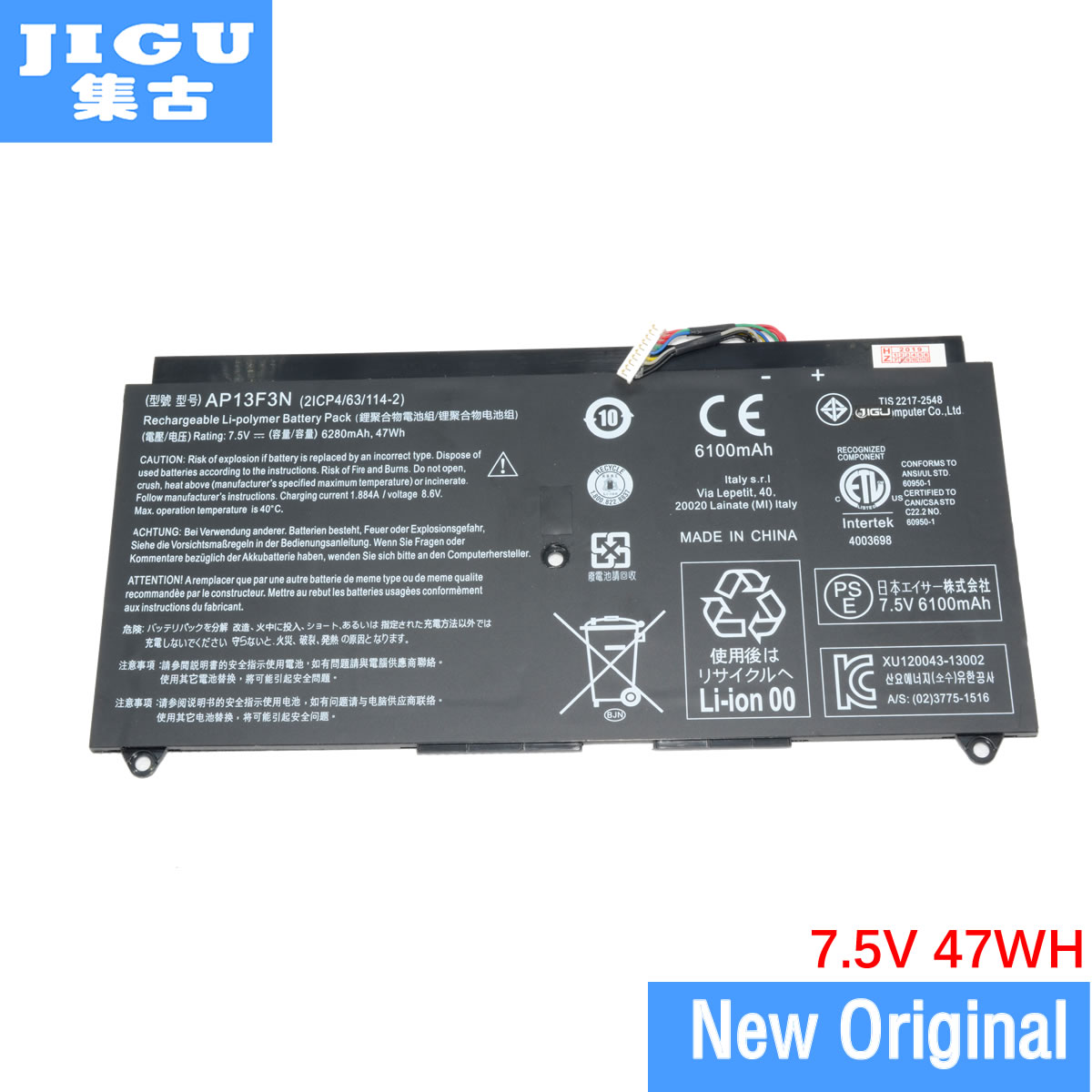 Jgu-batería Original para ordenador portátil, 2ICP4/63/114-2 AP13F3N para ACER, Aspire S7-392, S7-393,...