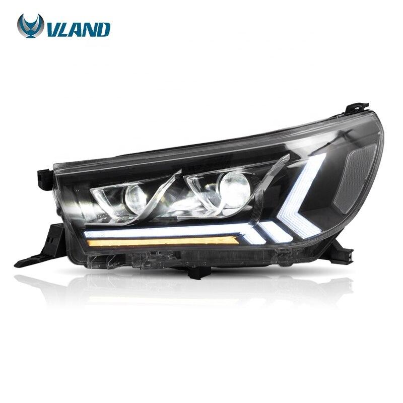 Vland الصانع العارض رئيس ضوء 2015 2016-2018 2019 ريفو فيجو روكو LED DRL المصابيح الأمامية لتويوتا هايلكس