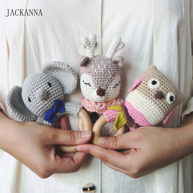 Crochet Elephant Unicorn Baby Rattle Teether Wooden Ring Handmade Chew Toy BPA Free Wood Teething Nursing Gifts Baby Teether Toy