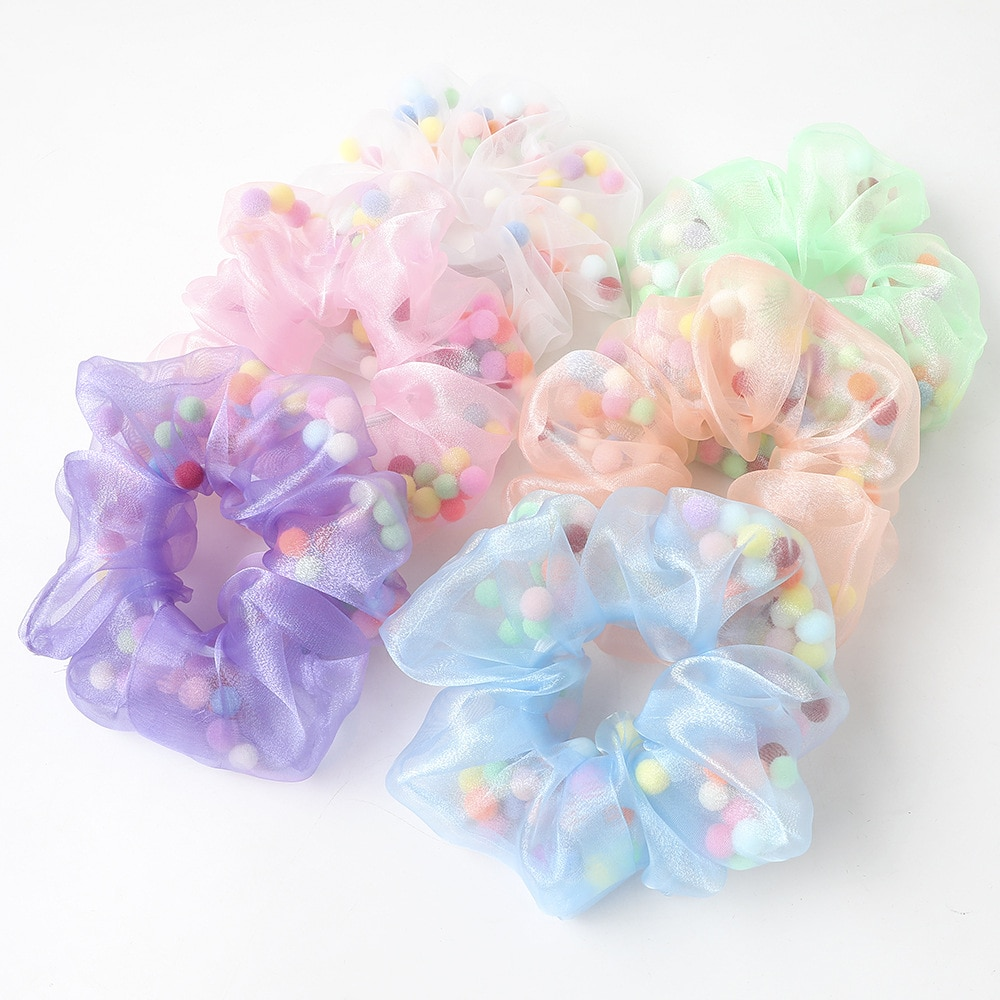 2020 Summer Girls Organza Schrunchies For Children Small Fur Ball Designs Cute Scrunchies Kawaii Accessories