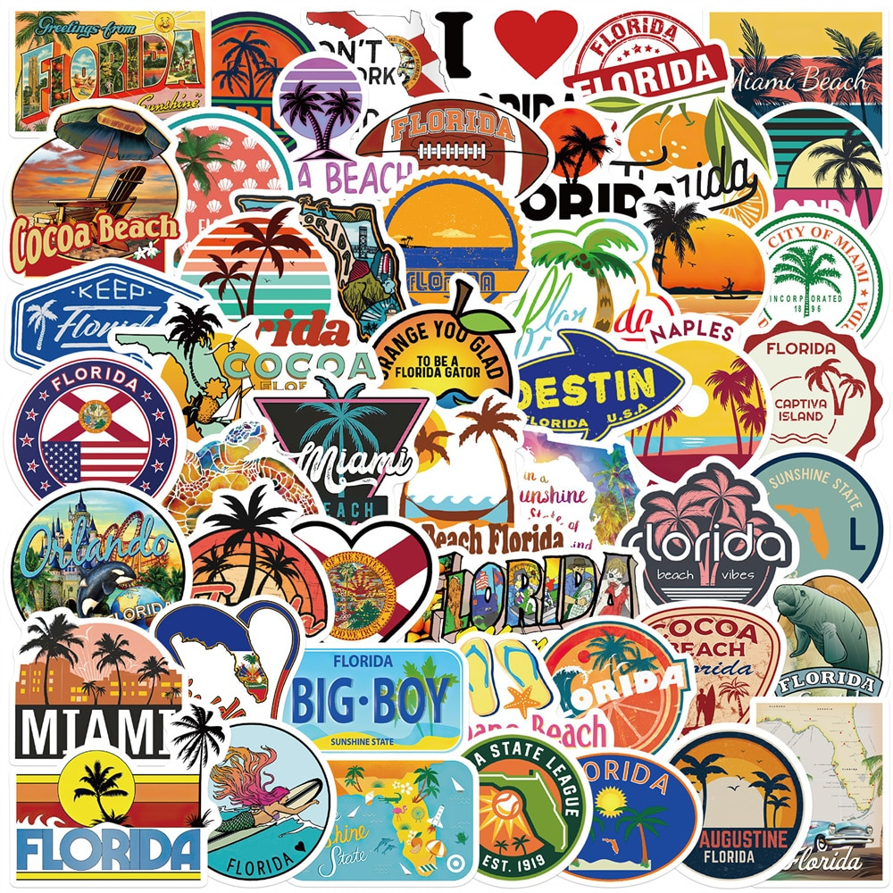 Наклейки граффити «Флорида», 10/30/50 шт.