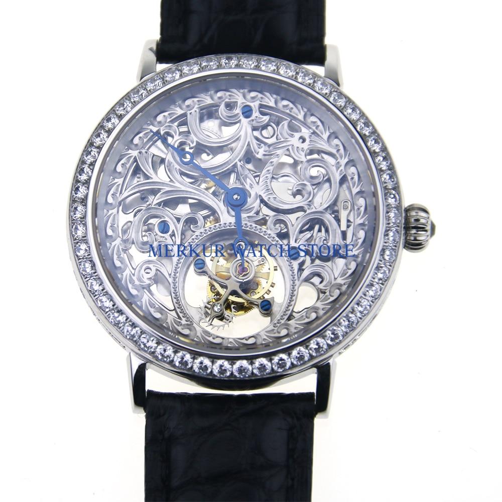 Sugess-ساعة ميكانيكية للرجال ST8000K ، مع حركة توربيون ، هيكل عظمي ، فستان كريستال كامل فاخر