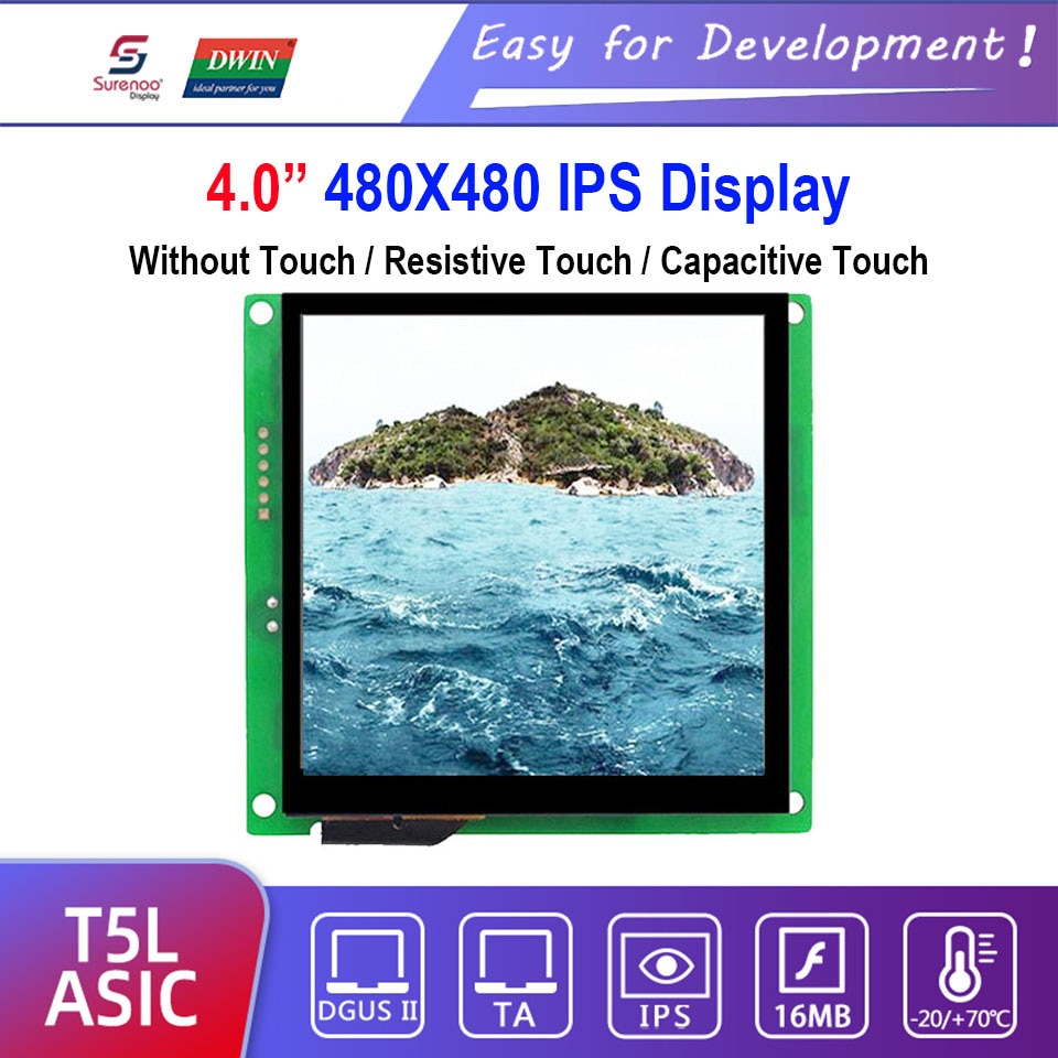 "Dwin T5L HMI pantalla inteligente, DMG48480C040_03W 4,0 ""480X480 módulo LCD, Panel táctil resistivo/capacitivo"