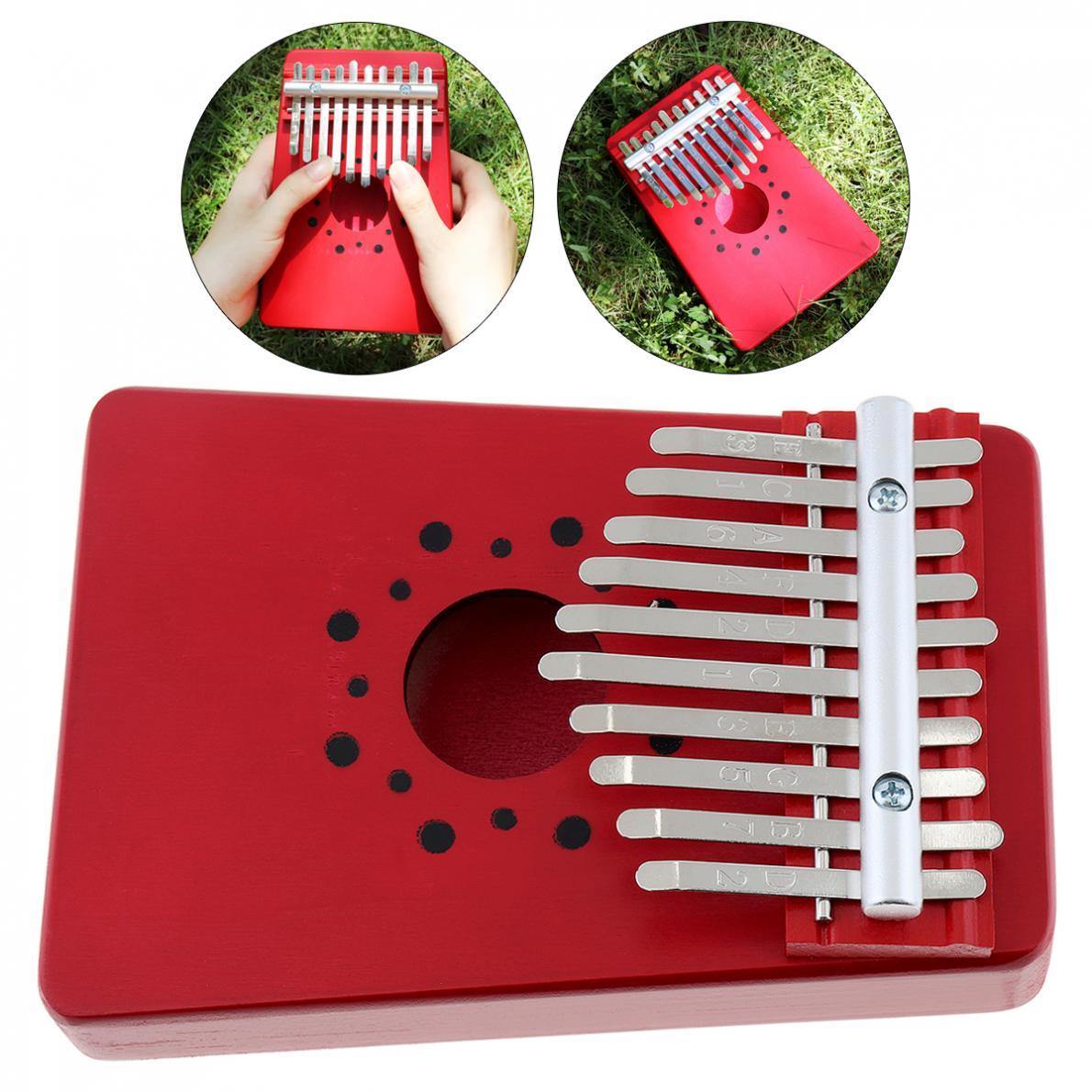10 teclas, Kalimba rojo, pino, madera maciza, Pulgar, Piano, Mbira, Mini teclado con pegatina de tono para Principiantes/actuación profesional