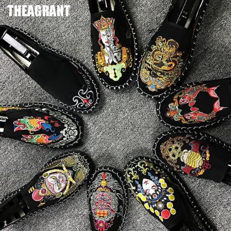 Zapatos planos THEAGRANT 2019 chinos trandional para hombres, mocasines de lona Vintage, zapatos casuales nacionales sin cordones de lona para hombre MFS3013