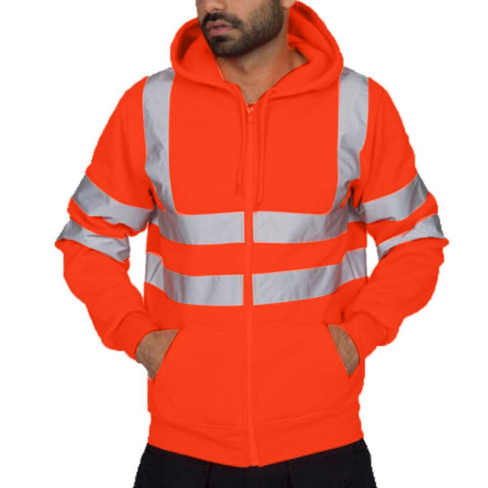 Herren Road Arbeit Hohe Sichtbarkeit Pullover Lange Hülse Mit Kapuze Sweatshirt Hoody Reflektierende Zipper Tops Mit Tasche Streetwear # Y3