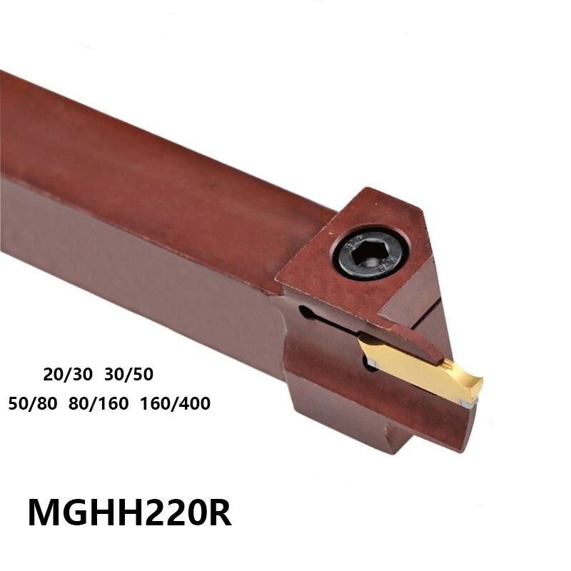 ALÉM MGHH MGHH220 MGHH220R08 20/30 30/50 50/80 MGHH220R10 80/160 MGHH220R12 160/400 Barra de Corte Face de Corte Ferramenta de Torno Titular