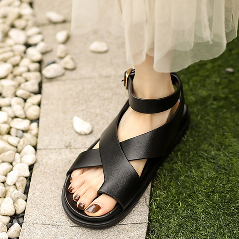 Gladiator Sandals for Women Real Real Leather Shoes Flat Heel Clip Toe Buckle Strap Casual Classics Footwear Size 34-39