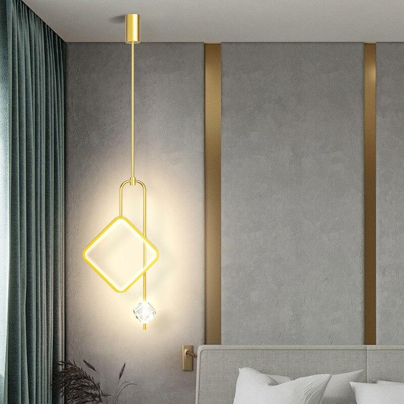 مصباح حلية ذهبية فاخرة مع جهاز التحكم عن بعد غرفة نوم السرير سقف معلق ضوء في غرفة المعيشة بار فندق دراسة الإضاءة