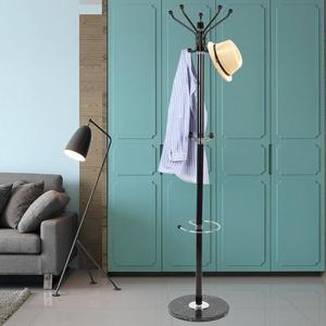 Black Metal Hanger Marble Coat Rack Marble Pedestal Clothes Holders Modern Design Oblique Round Hook Living Room Furniture HWC